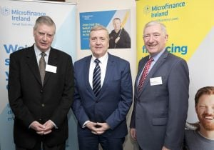 Minister Pat Breen with Cyril Forbes, MFI Chairman and Garrett Stokes CEO at the announcement of Microfinance Ireland's 2018 Annual Results